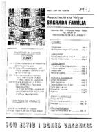1991 MAIG – JUNY NÚM. 10 Associació de Veïns SAGRADA FAMÍLIA